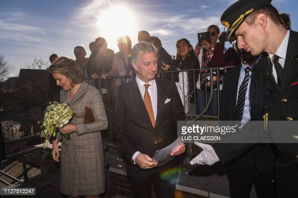 King Philippe Filip of Belgium and Queen Mathilde of Belgium arrive for a visit of Belgian Royal couple in Antwerp province with a social and...