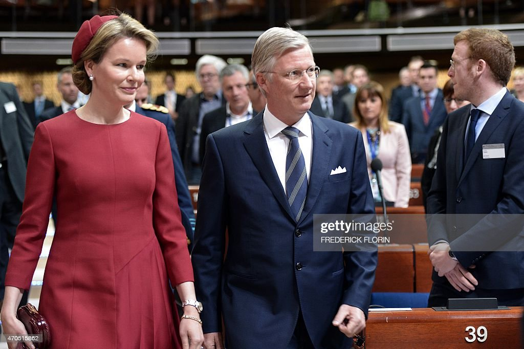 King Philippe - Filip of Belgium (R) and Queen Mathilde of Belgium arrive to deliver a speech to the Parliamentary Assembly of the Council of Europe, in Strasbourg, eastern France, on April 21, 2015.