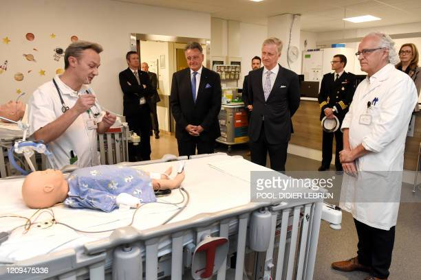 King Philippe Filip of Belgium and UZ Brussel CEO Marc Noppen pictured during a royal visit to several services at the UZ Brussel universitary...