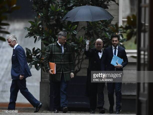 King Philippe - Filip of Belgium, CD&V chairman Joachim Coens and MR chairman Georges-Louis Bouchez pictured after a meeting with the King at the...