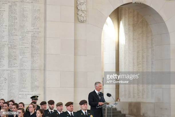King Philippe Filip of Belgium delivers a speech delivers a speech the Last Post ceremony at the Commonwealth War Graves Commission Ypres Memorial at...