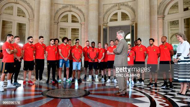 King Philippe Filip of Belgium delivers a speech to Belgium's team players forward Eden Hazard forward Thorgan Hazard midfielder Yannick Carrasco...