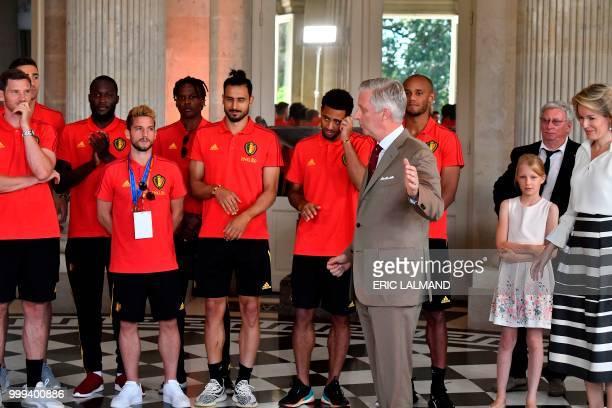 King Philippe Filip of Belgium delivers a speech to Belgium's team players defender Jan Vertonghen forward Romelu Lukaku forward Dries Mertens...
