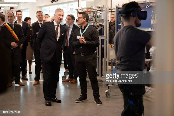King Philippe Filip of Belgium pictured during a royal visit to the T2 Technologie en Talent campus in Genk Tuesday 29 January 2019 The T2 campus is...