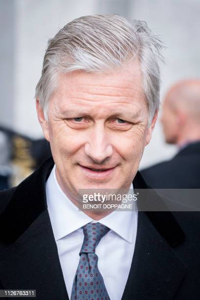 King Philippe Filip of Belgium pictured during a special Mass to commemorate the deceased members of the Belgian Royal Family at the...