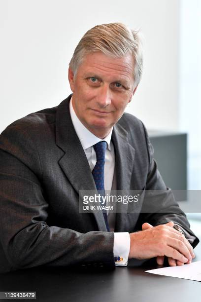 King Philippe - Filip of Belgium pictured during a visit of the King to the domotica factory Niko in Sint-Niklaas, Thursday 25 April 2019. The...