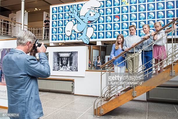 King Philippe Filip of Belgium takes a family portrait of Crown Princess Elisabeth Prince Gabriel Prince Emmanuel and Princess Eleonore during a...
