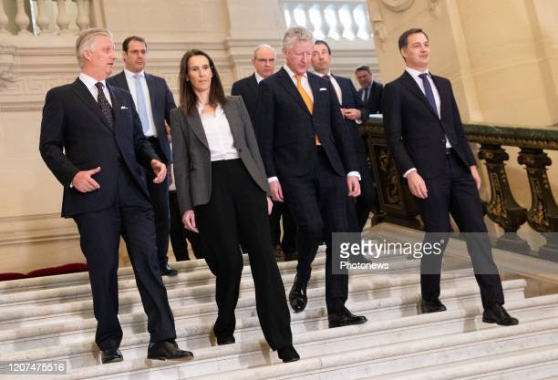 King Philippe Filip of Belgium VicePrime Minister and Minister of Budget Civil Services and Science David Clarinval Belgian Prime Minister Sophie...