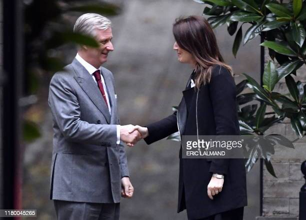 King Philippe Filip of Belgium welcomes Belgian Prime Minister Sophie Wilmes for a consultation with the King after his meeting with the...