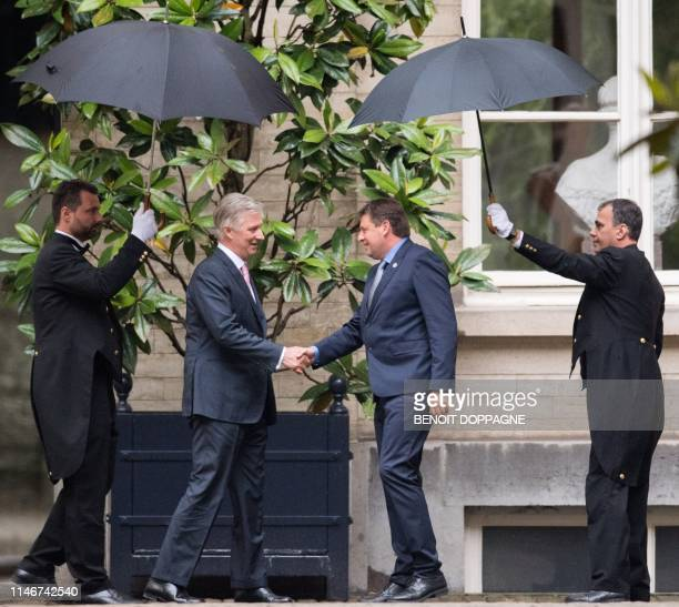 King Philippe - Filip of Belgium, welcomes Belgium's social democratic opposition party Socialist Party Differently John Crombez ahead of a meeting...