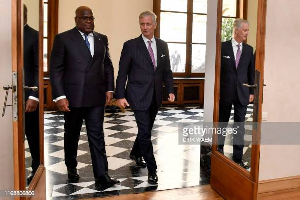 King Philippe - Filip of Belgium welcomes Democratic Republic of Congo President Felix Tshisekedi for an audience at the Royal Palace on September 17...