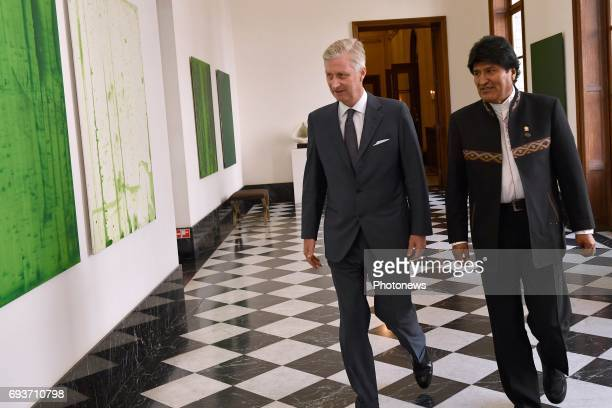 King Philippe meets Evo Morales President of Bolivia on June 8 2017 in Brussels Belgium