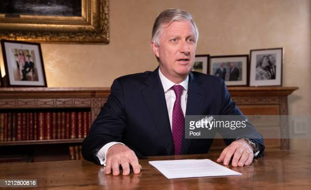 King Philippe of Belgium addresses the nation and the youth in particular to contain the spread of coronavirus on March 16 2020 in Brussels Belgium...
