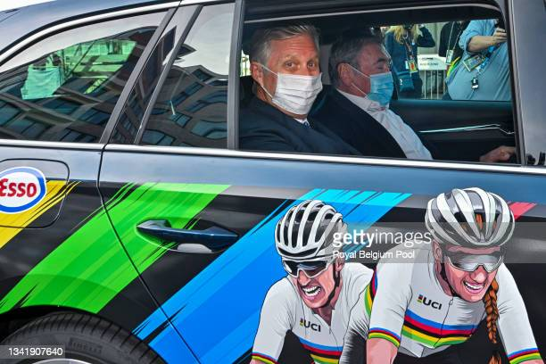 King Philippe of Belgium and cycling legend Eddy Merckx follow by official car the Belgian Cycling Team during the UCI 2021 Road World Championships...
