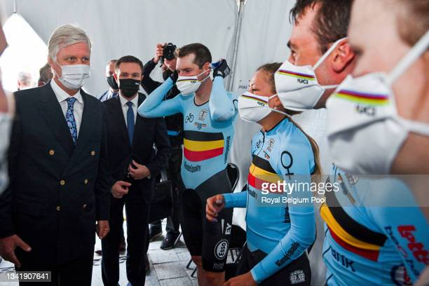 King Philippe of Belgium and cycling legend Eddy Merckx meet the Belgian Cycling Team during the UCI 2021 Road World Championships Flanders Belgium...
