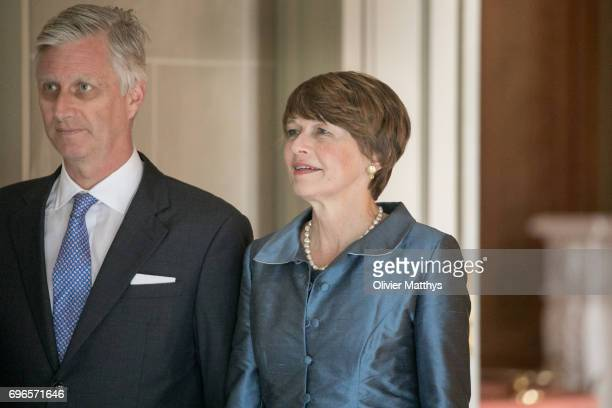 King Philippe of Belgium and Elke Buedenberger pose at the Laeken Castle on June 16 2017 in Brussels Belgium