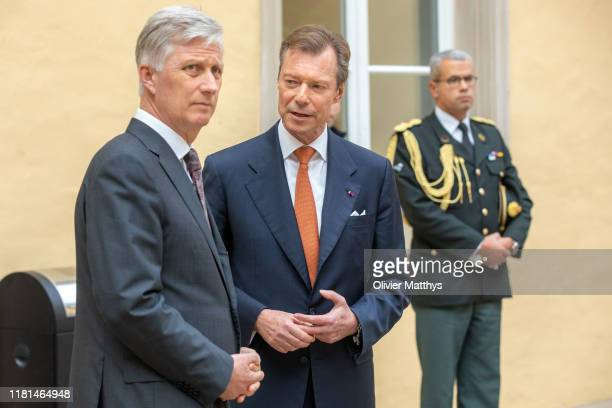 King Philippe of Belgium and Grand Duke Henri of Luxembourg visit the Image Factory exhibition at the Neumuenster Castle on October 16 2019 in...