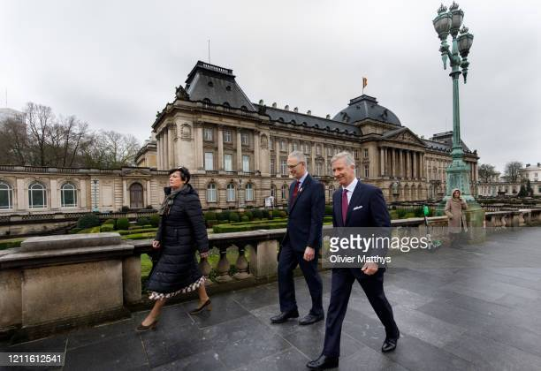King Philippe of Belgium and Head of the Military House General Thierry Vandeveld leave the Royal Palace by foot to attend the Chemistry for the...