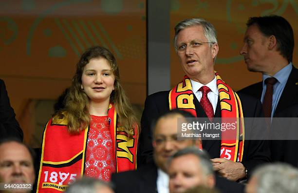 King Philippe of Belgium and his daughter Princess Elisabeth are seen in the stand prior to the UEFA EURO 2016 quarter final match between Wales and...