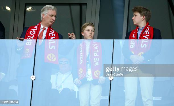 King Philippe of Belgium and his sons Prince Emmanuel of Belgium and Prince Gabriel of Belgium attend the 2018 FIFA World Cup Russia group G match...