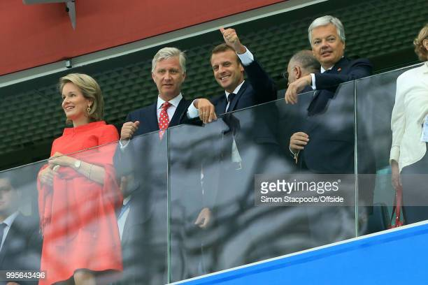 King Philippe of Belgium and his wife Queen Mathilde stand alongside French President Emmanuel Macron during the 2018 FIFA World Cup Russia Semi...