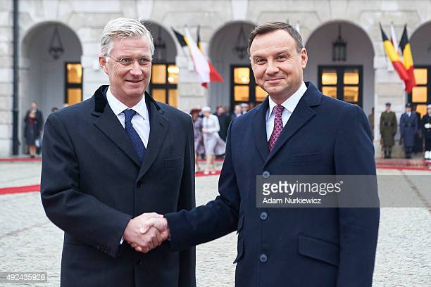 King Philippe of Belgium and Polish President Andrzej Duda attend the welcoming ceremony at the Presidential Palace as part of official Royal visit...