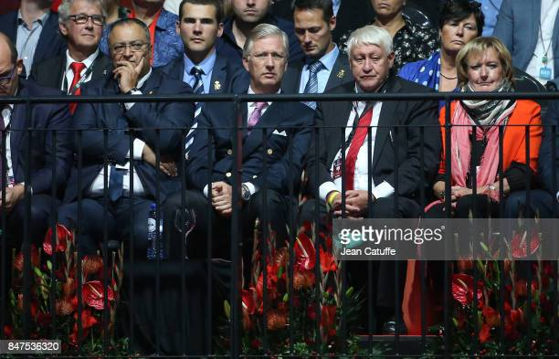 King Philippe of Belgium and President of Association Francophone de Tennis Andre Stein attend day one of the Davis Cup World Group semi final at...