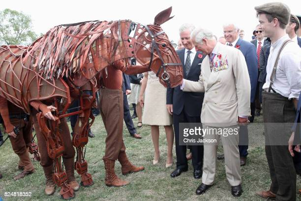 King Philippe of Belgium and Prince Charles Prince of Wales with War Horse during their visit to Exhibition Field at the Passchendaele Memorial Park...