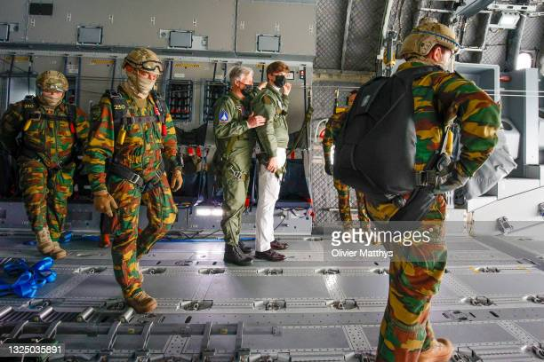 King Philippe of Belgium and Prince Gabriel of Belgium visit the 15Wing Air Transport at Military Airport Melsbroek to view the new Airbus A400M on...