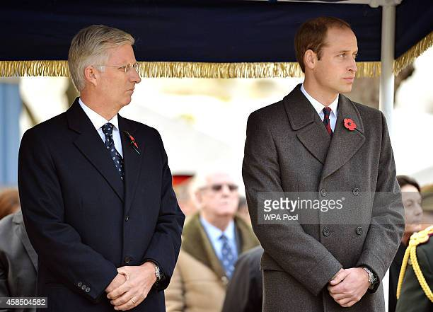 King Philippe of Belgium and Prince William Duke of Cambridge attend the opening of the Flanders' Fields Memorial Garden on November 6 2014 in London...