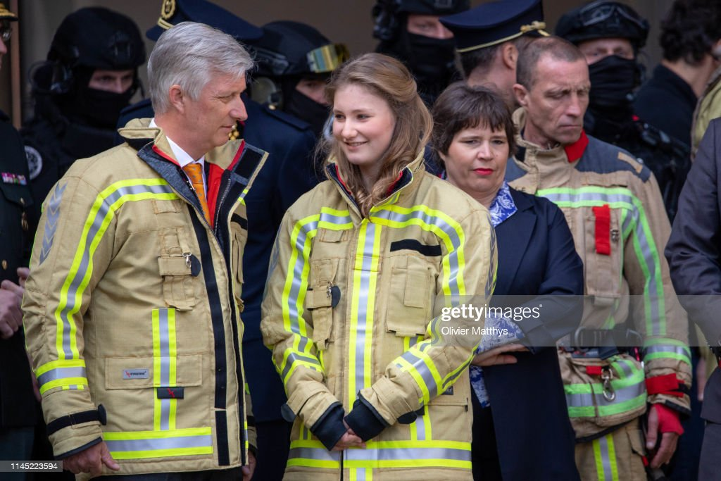 BEL: King Philippe Of Belgium Attends A Firefighter's Training Session In Brussels