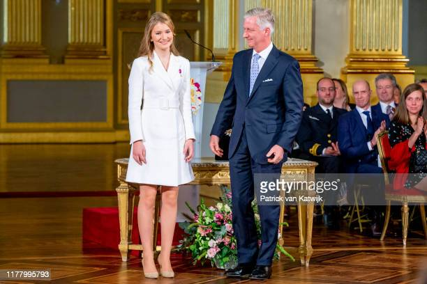 King Philippe of Belgium and Princess Elisabeth of Belgium during the 18th birthday celebration of the Crown Princess in the Royal Palace on October...
