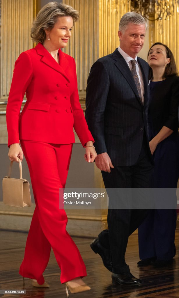 King Philippe Of Belgium And Queen Mathilde Receive Principal Authorities Of The Country At The Royal Palace in Brussels : News Photo