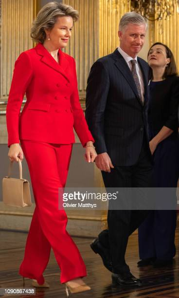 King Philippe of Belgium and Queen Mathilde arrive at the reception of principal authorities of the country at the Royal Palace on January 29, 2019...