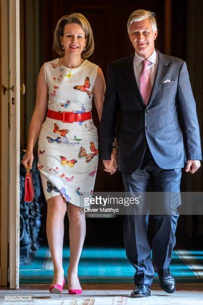 King Philippe of Belgium and Queen Mathilde arrive prior to offer a lunch to the Queen Elisabeth Contest members of the jury in the Royal palace on...