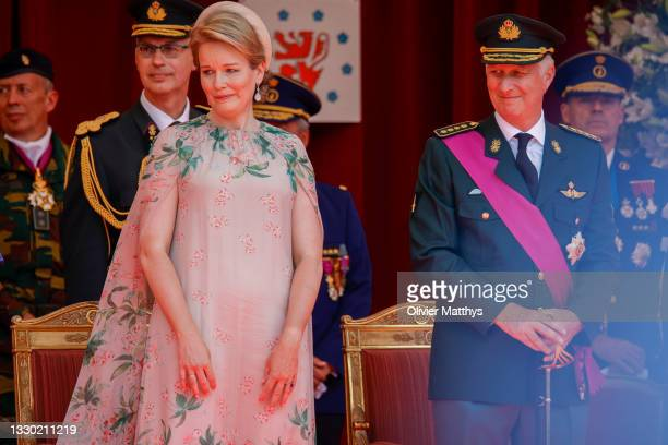 King Philippe of Belgium and Queen Mathilde attend the ceremony in front of the Royal Palace on the occasion of the National Day on July 21, 2021 in...