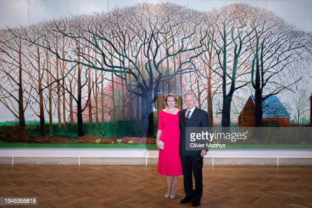 King Philippe of Belgium and Queen Mathilde attend the opening of the exhibition on the work of British artist David Hockney at the Center for Fine...