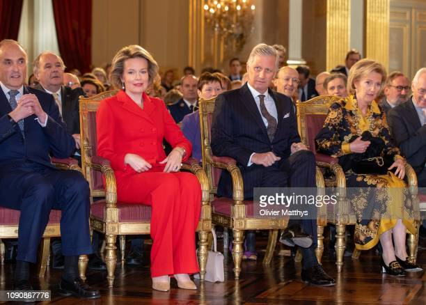 King Philippe of Belgium and Queen Mathilde attend the reception of principal authorities of the country at the Royal Palace on January 29 2019 in...