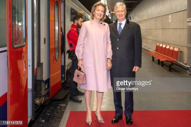 King Philippe of Belgium and Queen Mathilde depart for the State Visit to Luxembourg on October 15, 2019 in Luxembourg.