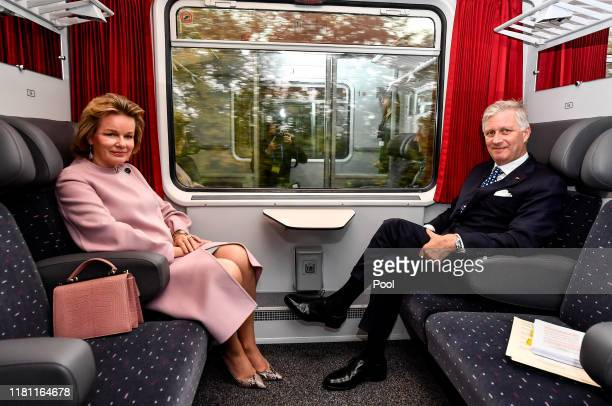 King Philippe of Belgium and Queen Mathilde depart for their State Visit to Luxembourg on October 15, 2019 in Luxembourg.