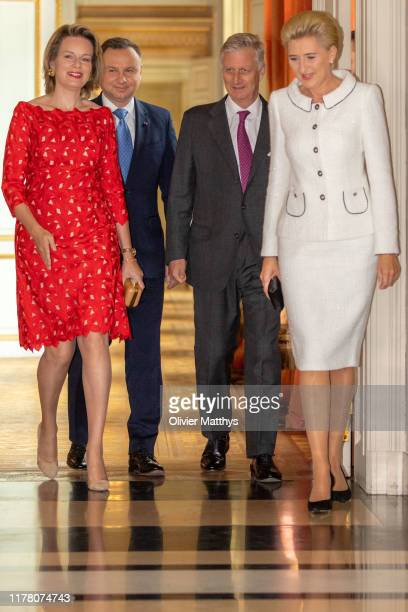 King Philippe of Belgium and Queen Mathilde invite for lunch President of Poland Andrzej Duda and First Lady Agata KornhauserDuda at the Royal Castle...