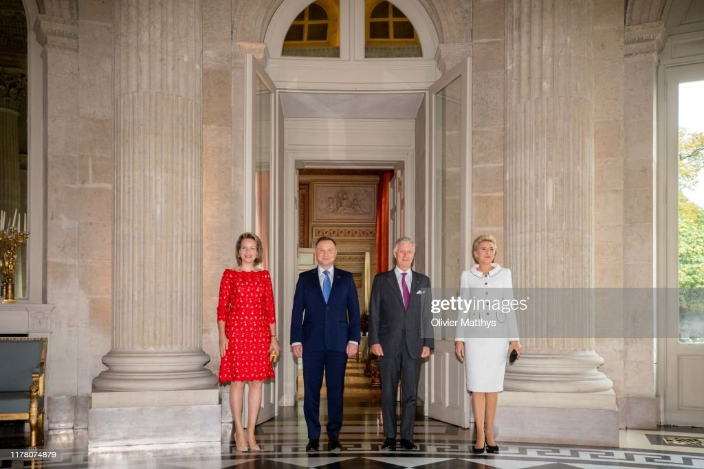 King Philippe Of Belgium,  Queen Mathilde Invite President Of Poland Duda For Lunch In Brussels : News Photo