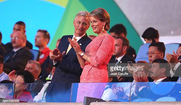 King Philippe of Belgium and Queen Mathilde of Belgium applaud their delegation during the opening ceremony of the 2016 Summer Olympics at Maracana...