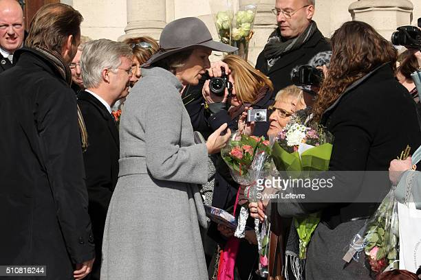 King Philippe of Belgium and Queen Mathilde of Belgium are pictured as they leave a mass at Notre Dame Church in Laeken on February 17, 2016 in...