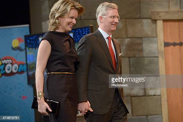 King Philippe of Belgium and Queen Mathilde of Belgium are seen during their visit to Medialaan marking the 25th anniversary of the enterprise on...