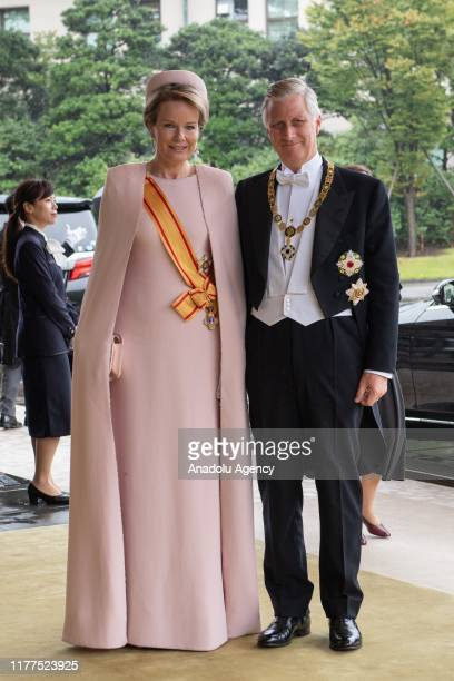 King Philippe of Belgium and Queen Mathilde of Belgium arrive to attend the Enthronement Ceremony Of Emperor Naruhito of Japan at the Imperial Palace...