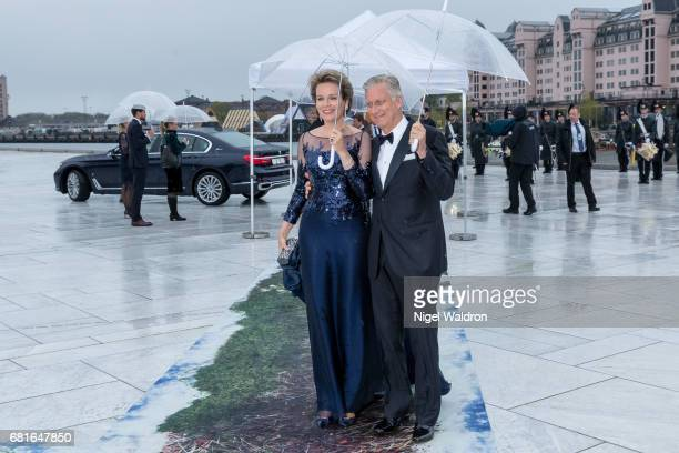 King Philippe of Belgium and Queen Mathilde of Belgium arrives at the Opera House on the occasion of the celebration of King Harald and Queen Sonja...