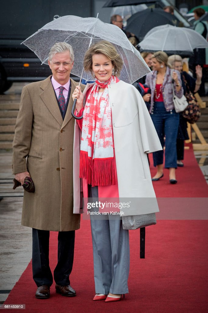 King Philippe of Belgium and Queen Mathilde of Belgium attend a lunch on the Norwegian Royal yatch 'Norge'to celebrate the 80th birthdays of King Harald of Norway and Queen Sonja of Norway on May 10, 2017 in Oslo, Norway.