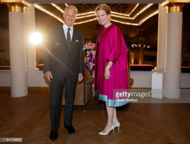 King Philippe of Belgium and Queen Mathilde of Belgium attend International Music Concurs Closing Concert at BOZAR on June 06, 2019 in Brussels,...