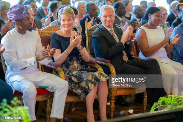 King Philippe of Belgium and Queen Mathilde of Belgium attend the King Baudouin Award For Development In Africa To Wecyclers Lagos Nigeria Laureates...